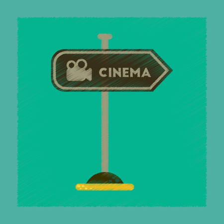 flat shading style icon cinema sign Illustration