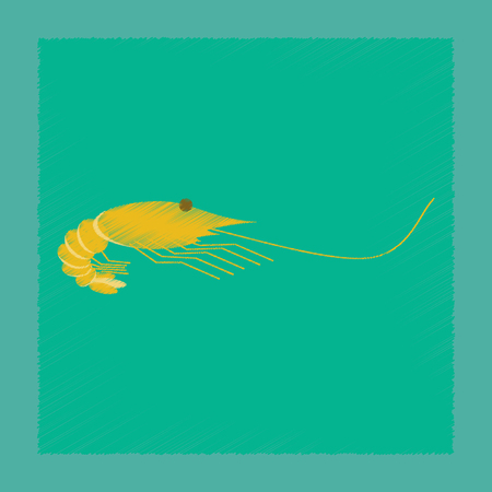 flat shading style illustration sea shrimp