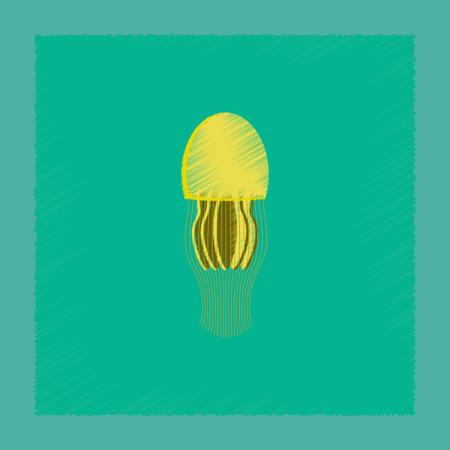 flat shading style illustration biology jellyfish Illustration