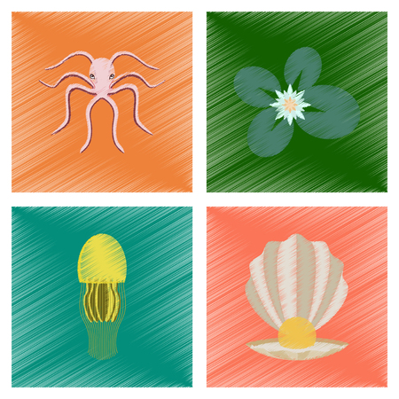 assembly flat shading style illustration octopus jellyfish water lily pearl mussel