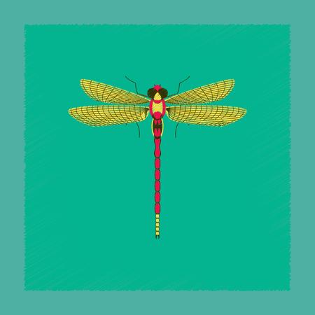 flat shading style illustration insect dragonfly Illustration
