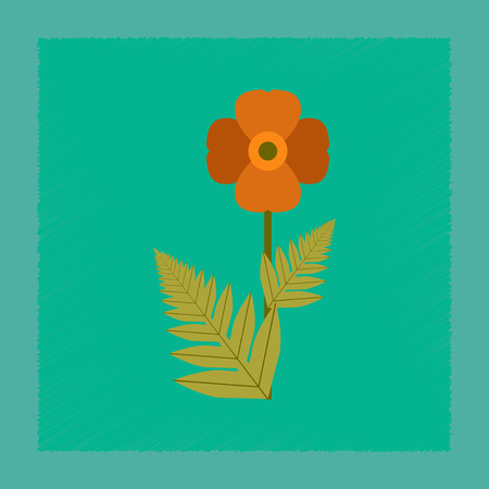 flat shading style illustration flower papaver Illustration