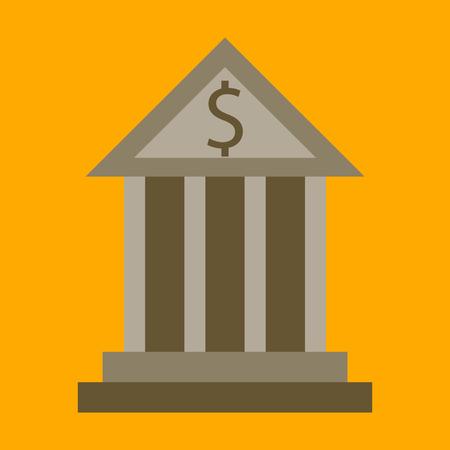 platte pictogram op een stijlvolle achtergrond zakelijke bank gebouw