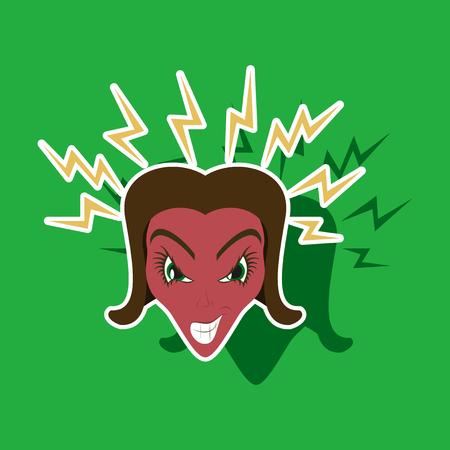 paper sticker on theme evil women