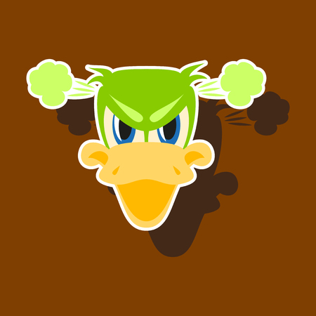 paper sticker on theme animal evil duck