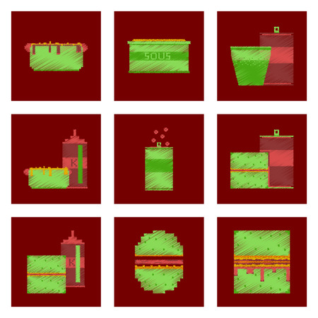 Assembly of flat shading style, pixel icon fast food.  イラスト・ベクター素材