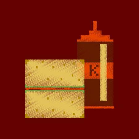 Flat shading style icon pixel burger and ketchup
