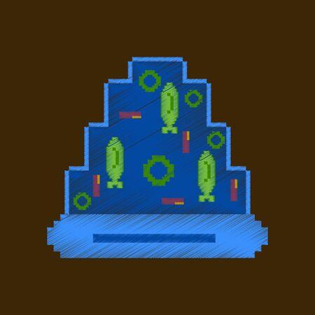 Vlakke arcering stijl pictogram pixel Pizza met tonijn Stock Illustratie