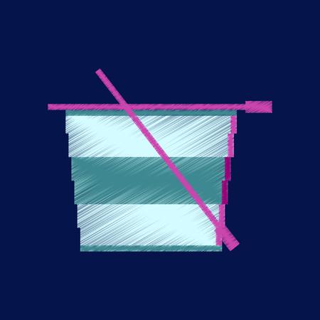 Vlakke arcering stijlicoon pixel theekop