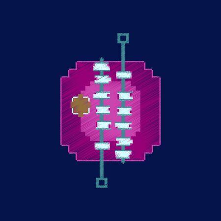 Vlakke arcering stijl pictogram pixel BBQ vlees Stock Illustratie