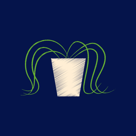 Flat shading style icon plant in a pot.  イラスト・ベクター素材