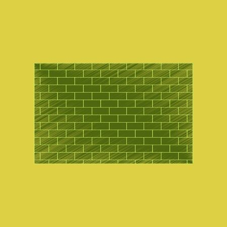 Flat shading style icon brick wall architectural
