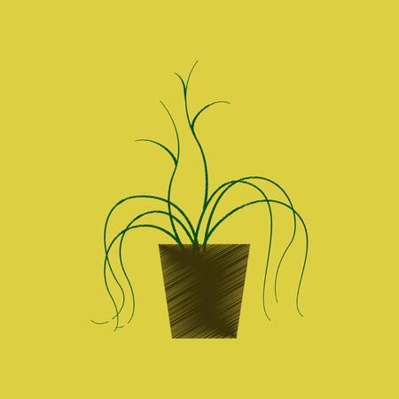 Vlakke arcering stijl pictogram plant in een pot Stock Illustratie