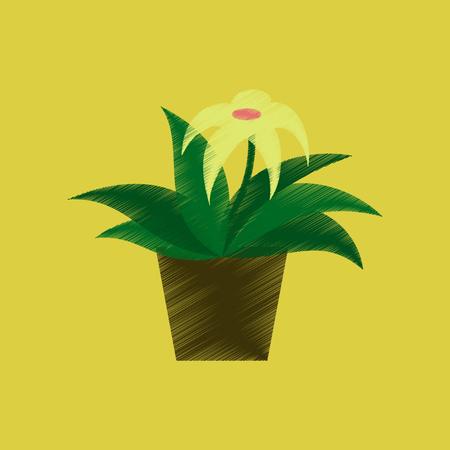 flat shading style icon Flowering pot gerbera Illustration