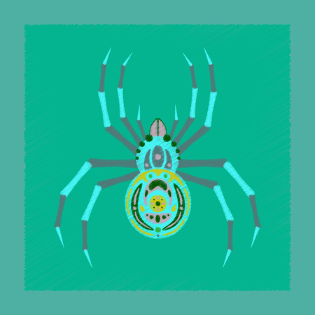 flat shading style icon of halloween spider