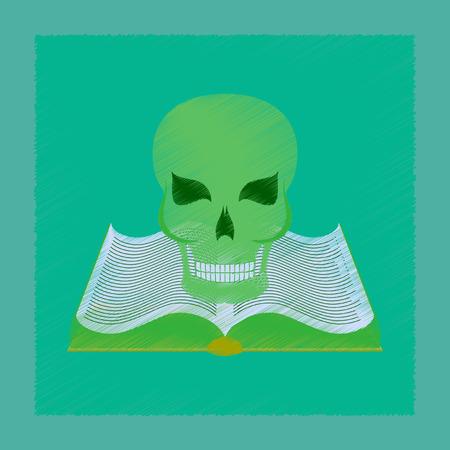 flat shading style icon of book skull
