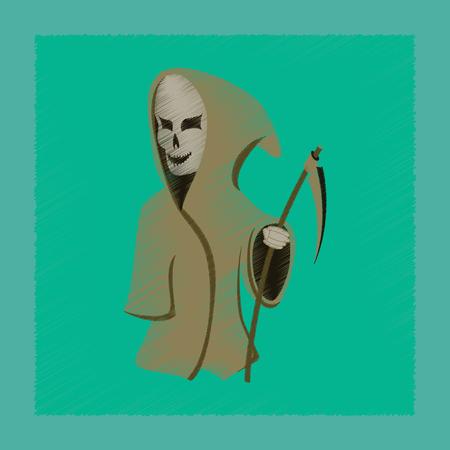 Vlakke arcering stijl pictogram halloween dood zeis Stock Illustratie