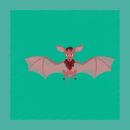 Vlakke arcering stijl pictogram schattige vleermuis