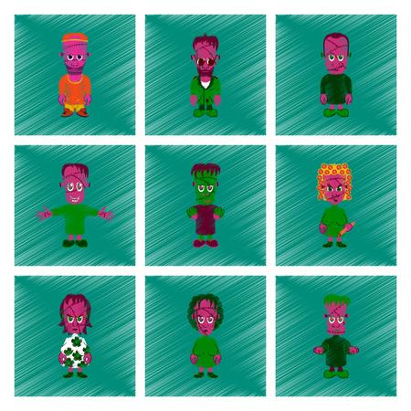 Set of zombies icon.