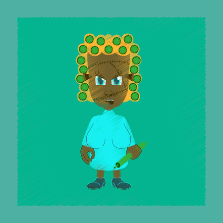 Flat shading style icon of zombie woman