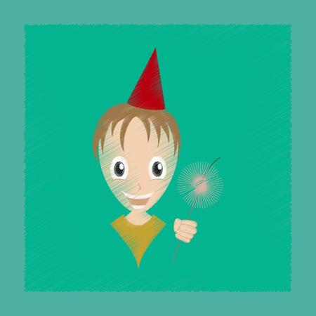 Flat shading style icon of child sparkler
