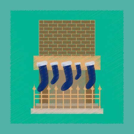 Flat shading style icon Fireplace Christmas Socks