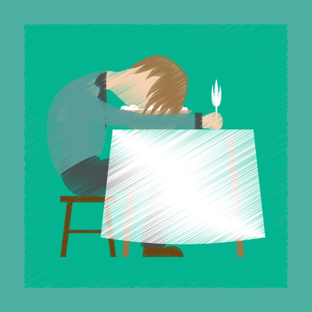 Flat shading style icon of man sleeping at desk