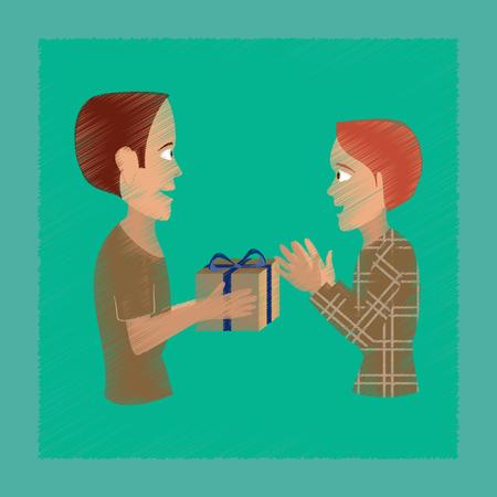 Friends exchanging gift illustration. Illustration