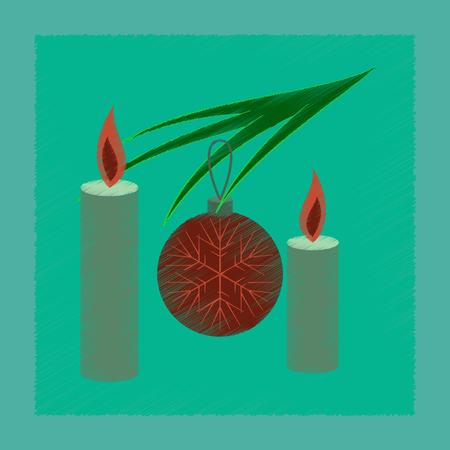 Vlakke arcering stijlicoon Kerstballen en kaarsen
