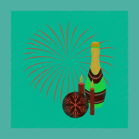 flat shading style icon of champagne candles fireworks  イラスト・ベクター素材