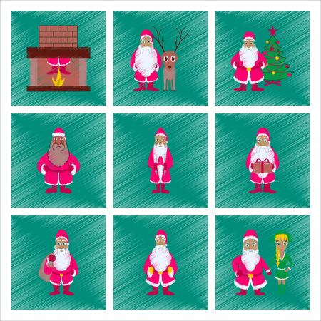 Assembly of flat shading style illustration Santa Claus