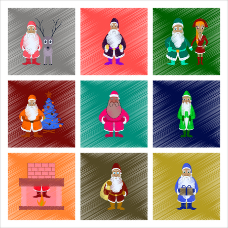 Assembly of flat shading style illustration Santa Claus.