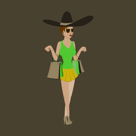 Girl shopping with packages Illusztráció