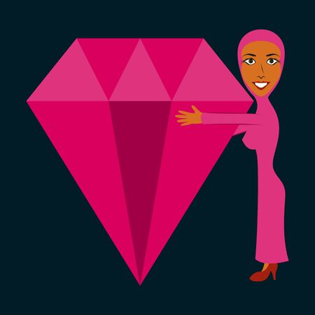 assembly of flat icons on theme Arabic business Muslim with a diamond