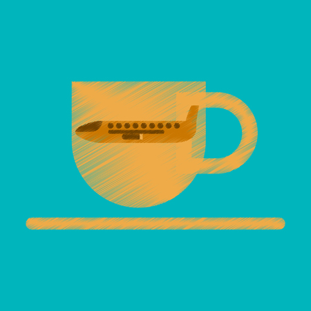 Flat Icon in Shading Style Airplane cup of coffee
