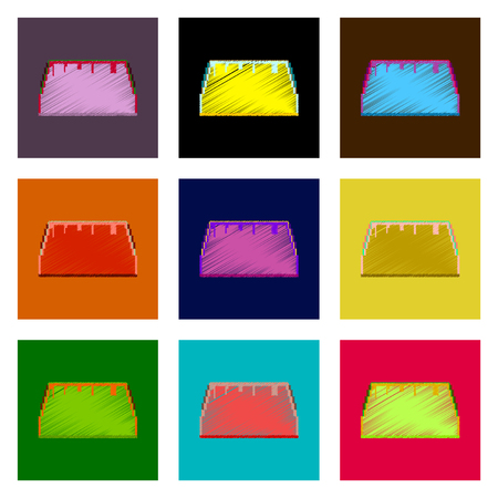 assembly of flat shading style pixel icon tacos Illustration