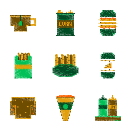 Assembly of flat shading style pixel icon fast food