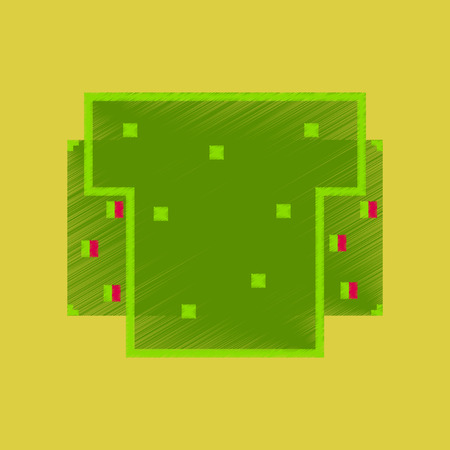 Flat shading style icon pixel burger.