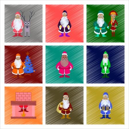 Flat shading style illustration of Santa Claus