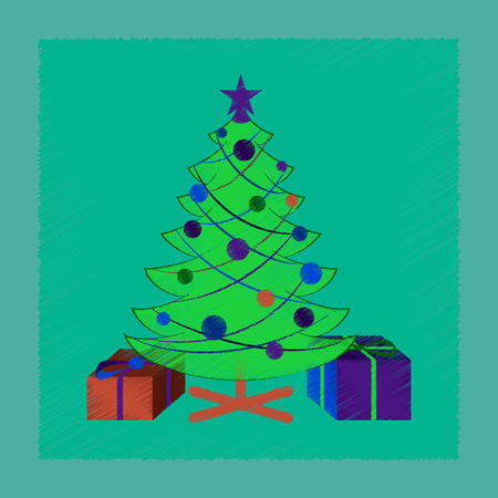 Flat shading style icon Christmas Tree with gifts.