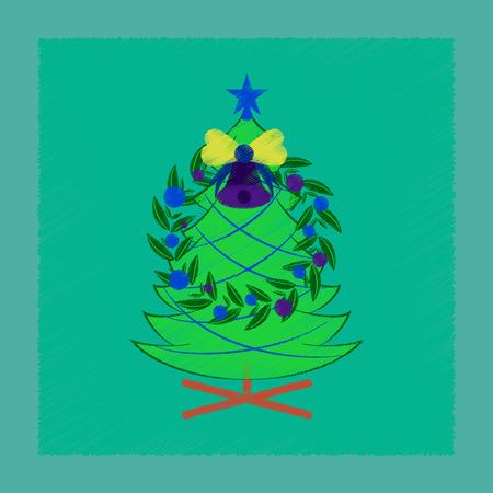 Flat shading style icon Christmas fir wreath.