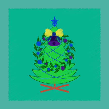 Flat shading style icon Christmas fir wreath.