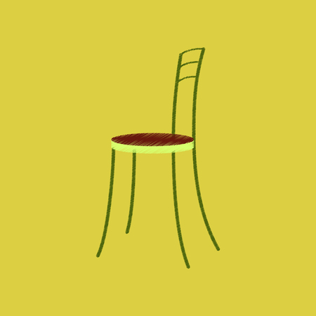Flat shading style icon chair illustration. Vettoriali