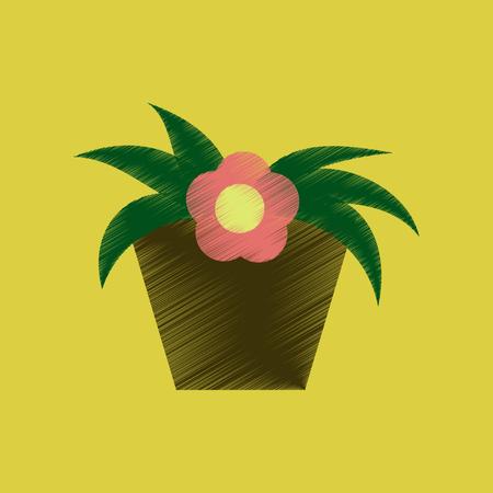 Flat shading style icon Flowering pot illustration.