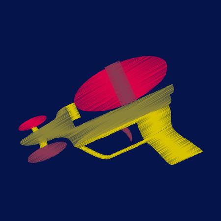 Vlak in de schaduw stellend pictogram van stuk speelgoed kanon in gekleurde illustratie.
