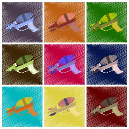 Inzameling van vlakke in de schaduw stellende stijlpictogrammen van stuk speelgoed kanon in gekleurde illustratie. Stock Illustratie