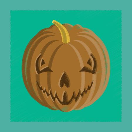 flat shading style icon Halloween pumpkin emotions Stock Illustratie