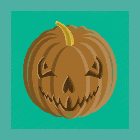 flat shading style icon Halloween pumpkin emotions Ilustração