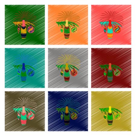 Vergadering vlakke arcering stijl illustratie Kerstboom champagne