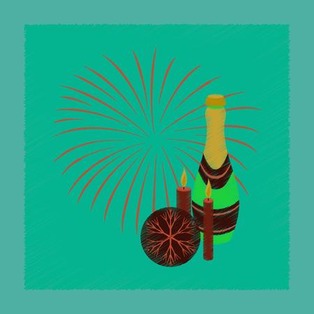 Flat shading stijlicoon champagne kaarsen vuurwerk